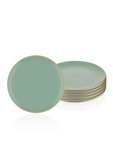The Mia Basic Servis Tabağı 6 Lı Set Yeşil - 26cm Yeşil